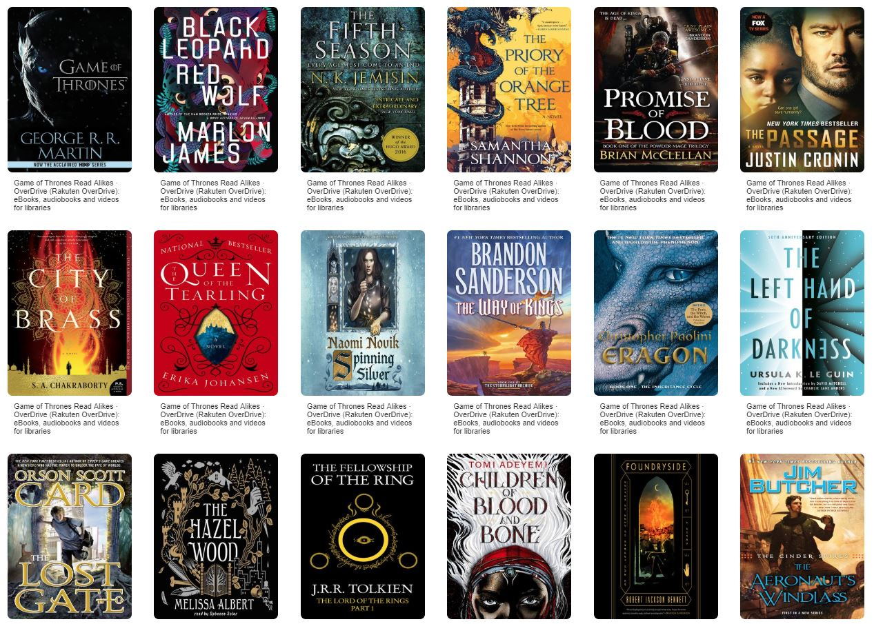7 Game Of Thrones Read Alikes One For Each Kingdom Overdrive
