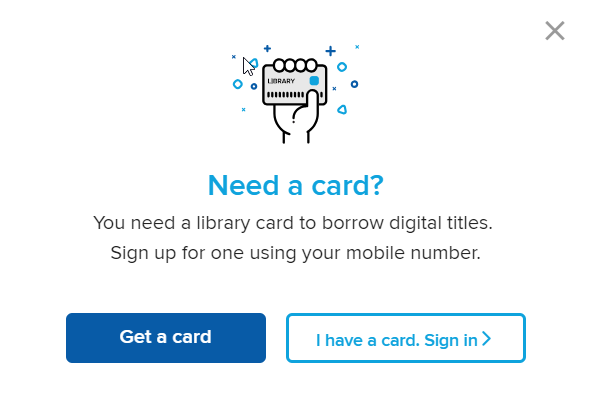 OverDrive Instant Digital Card will get you a free card using your mobile number