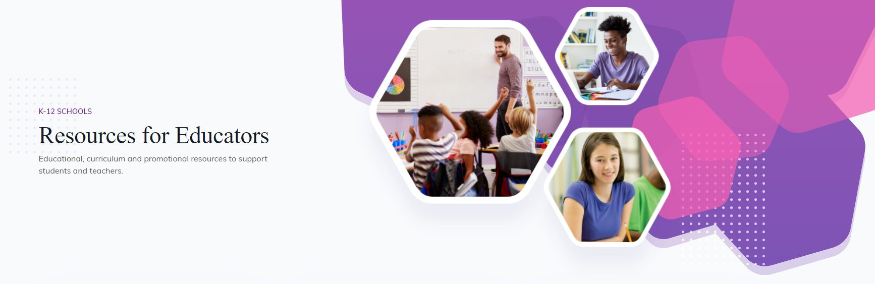 redesigned k-12 resource center screenshot - purple bubbles with lifestyle images