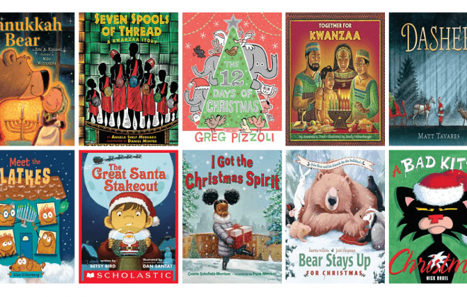 collage of 10 holiday picture book jackets