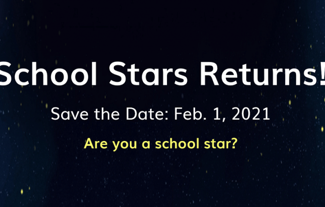 school stars returns text on dark sky with stars