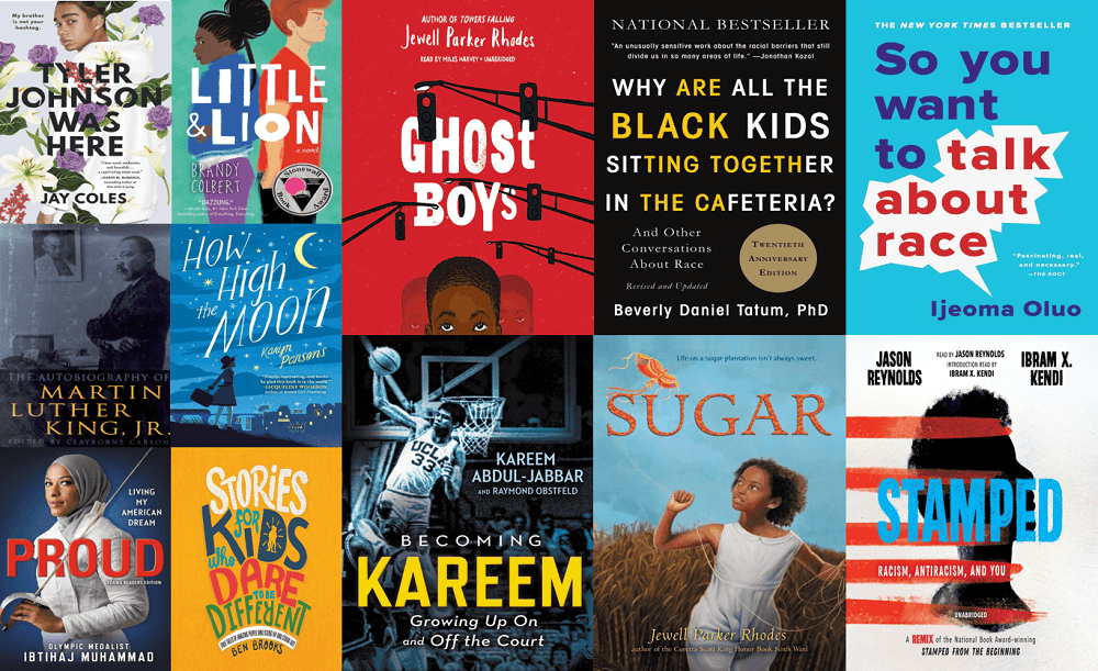 book jacket collage anti-racist titles