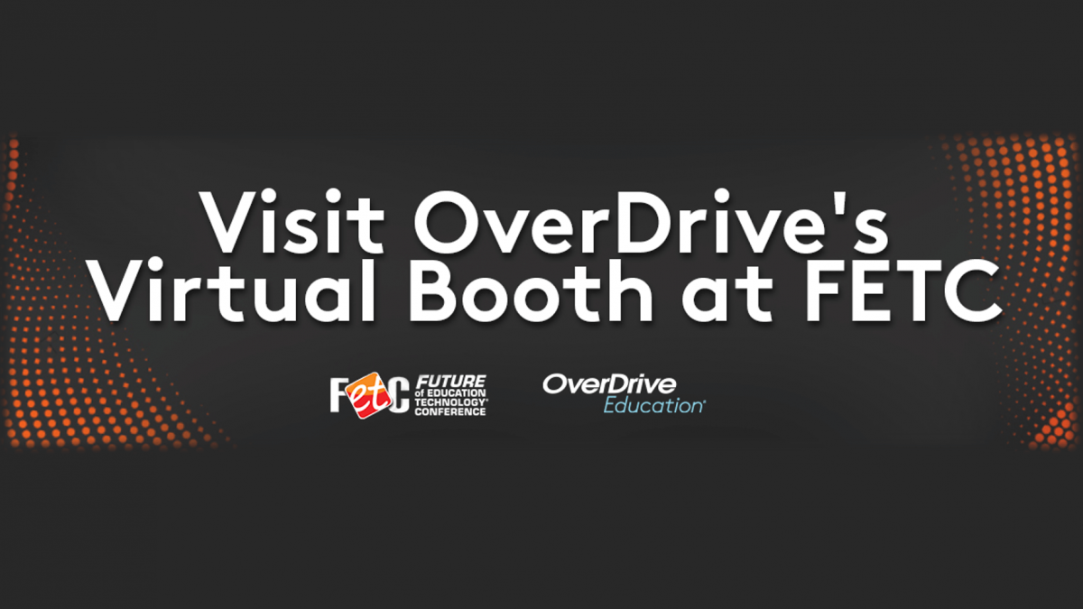 visit overdrive's virtual booth at FETC text on background
