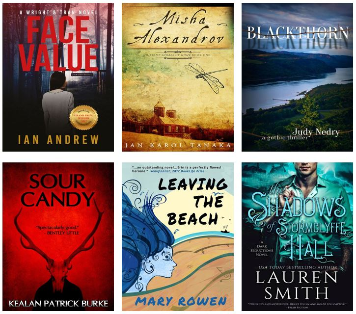 Spread of book covers: Face Value by Ian Andrew. Misha Alexandrov by Jan Karol Tanaka. Blackthorn by Judy Nedry. Sour Candy by Kealan Patrick Burke. Leaving the Beach by Mary Rowen. The Shadows of Stormclyffe Hall by Lauren Smith.