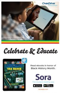 text on background celebrate & educate black history month in sora