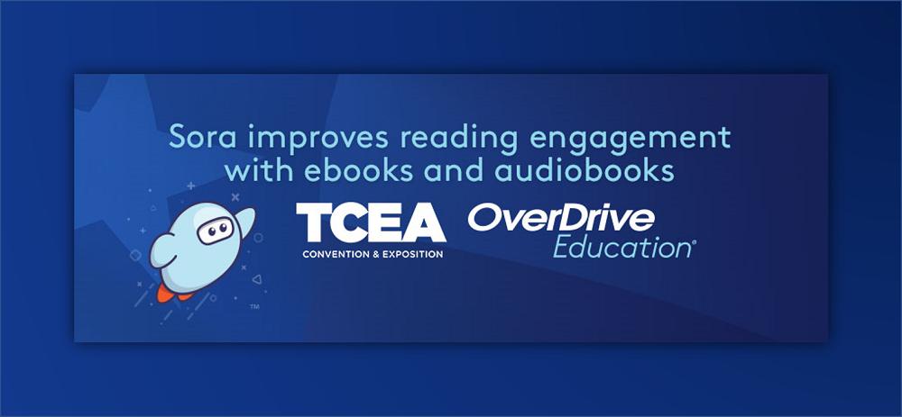 sora TCEA text against blue backdrop