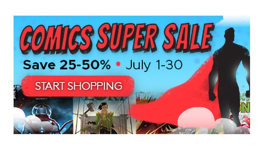 comics super sale text banner 25-50% off
