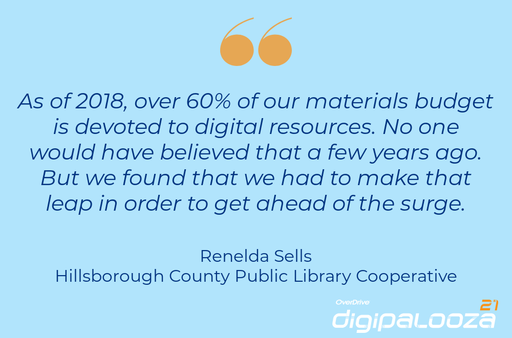 """""""As of 2018, over 60% of our material budget is devoted to digital resources. No one would have believed that a few years ago. But we found that we had to make that leap in order to get ahead of the surge."""" Renelda Sells, Hillsborough County Public Library Cooperative"""