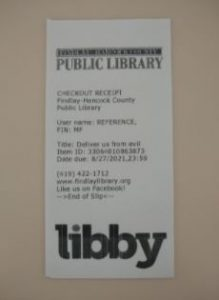 Library circ print out. Libby logo is at the bottom.