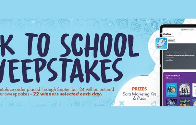 back to school sweepstakes copy on blue background with device